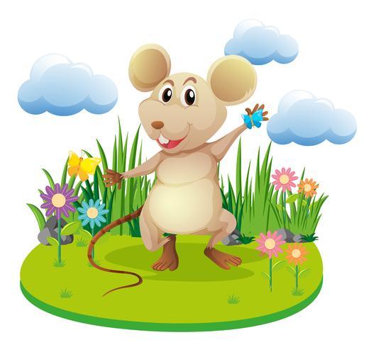 Little rat standing in garden