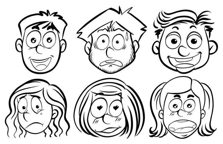 Six faces with different emotions vector