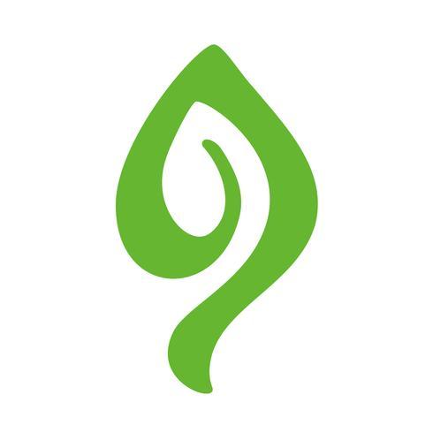 Logo of green leaf of tea. Ecology nature element vector icon organic. Eco vegan bio calligraphy hand drawn illustration