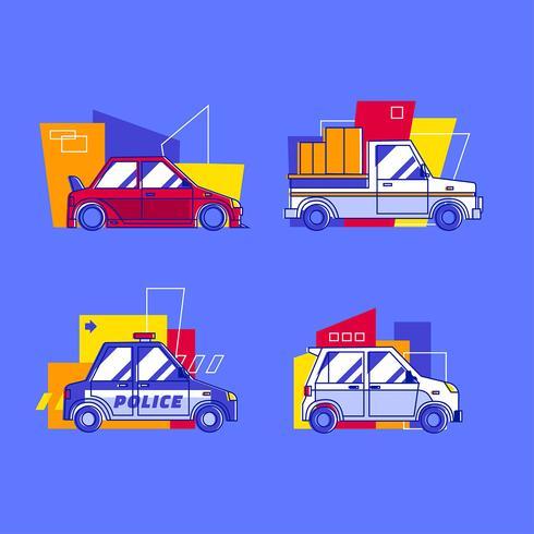 Conjunto de imágenes prediseñadas de transporte de varios vehículos de la ciudad