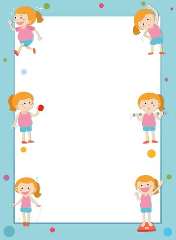 Border template with girl losing weight