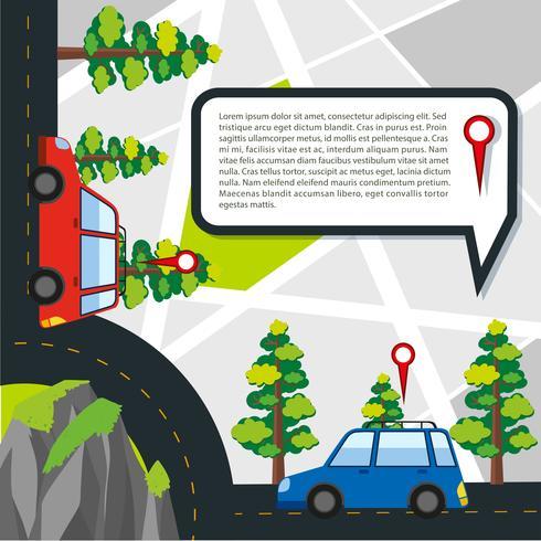 Weg met auto's en locatiegegevens