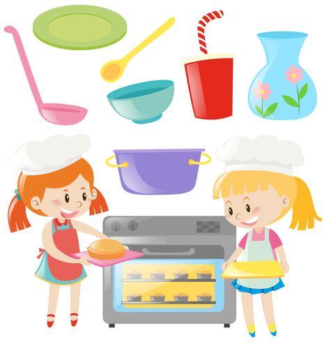Girls baking and kitchen utensils set