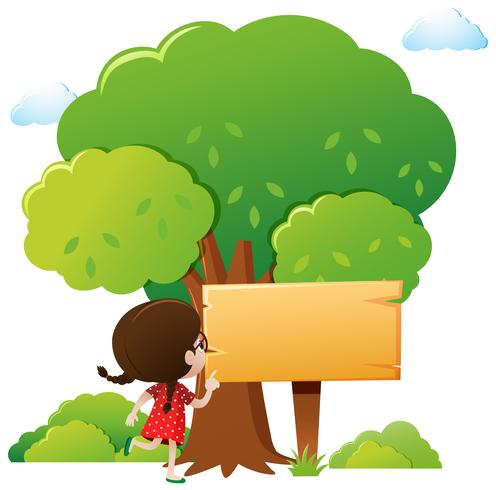 Wooden sign template with girl and tree