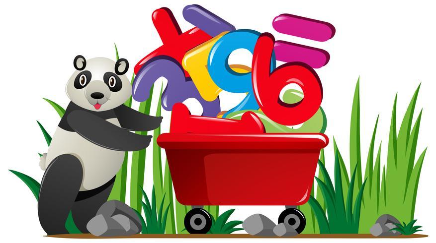 Panda pushing wagon full of numbers
