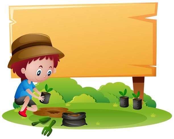 Modelo de sinal de madeira com menino plantando árvore