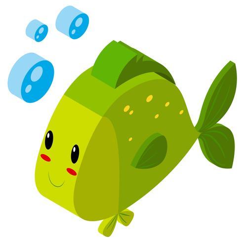 Diseño 3D para peces verdes. vector