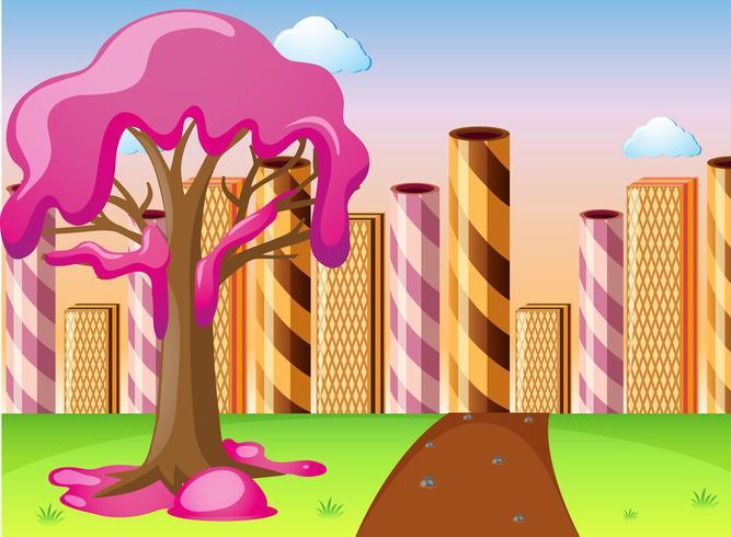 Fantacy-Land mit Süßigkeiten auf Baum- und Waffelgebäuden