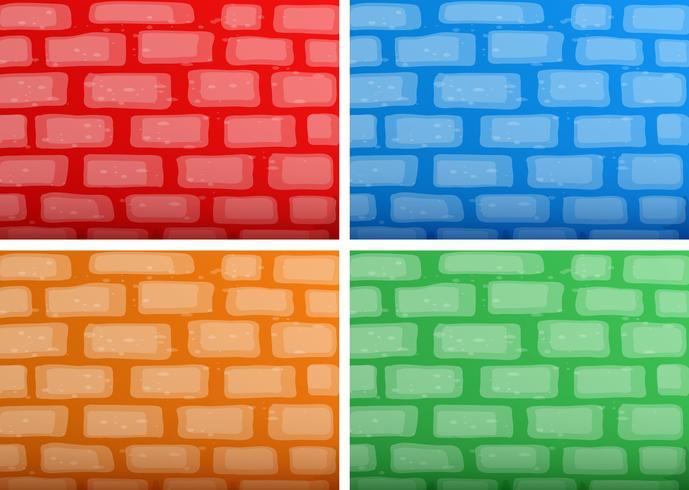 Modelo de plano de fundo com brickwalls em quatro cores diferentes
