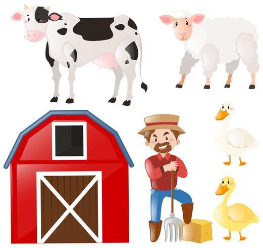 Set with farmer and farm animals