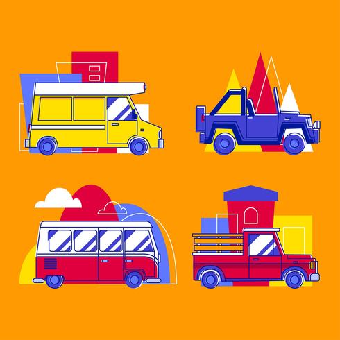 Speciality Car Transportation Clipart Set