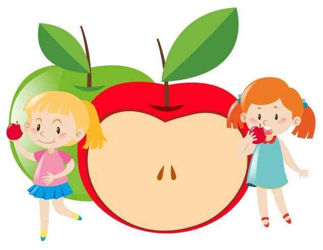 Duas meninas, comendo maçã