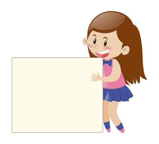 Liten tjej bakom tecknet