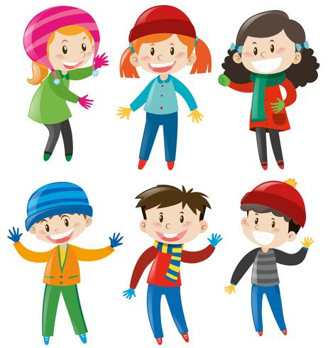 Boys and girls in winter outfit