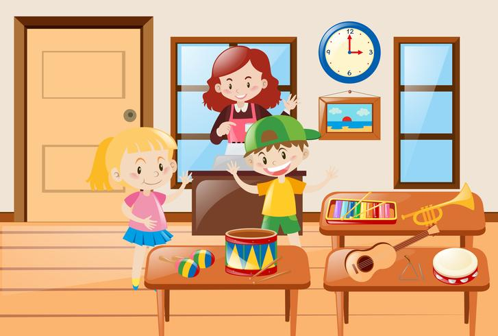 Kinderen en verschillende soorten muziekinstrumenten