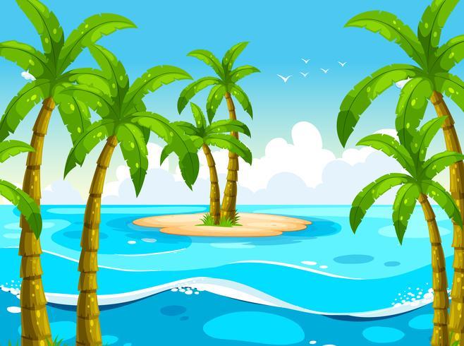 Scen med träd på ön vektor