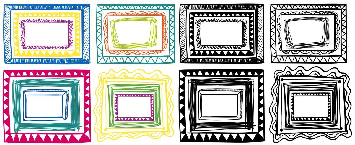 Different doodles of frame designs