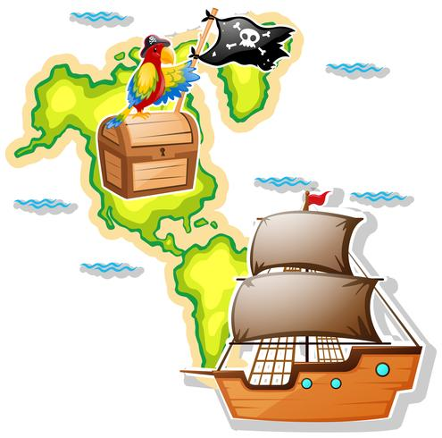 Pirate ship and treasure chest on map