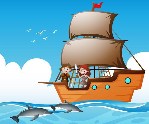 Wikinger auf Schiff und Delphinen im Meer