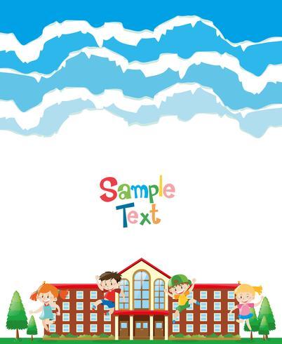 Ontwerp van papier met kinderen op schoolterrein