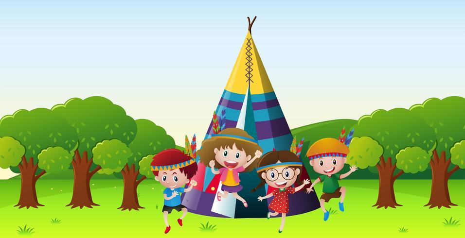 Crianças, tocando, vermelho, indianos, parque