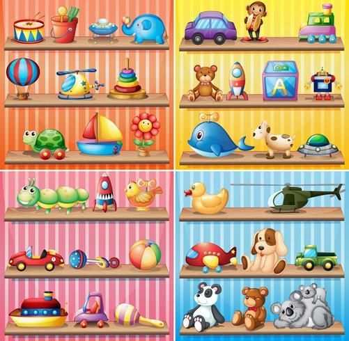 Olika typer av leksaker på hyllorna