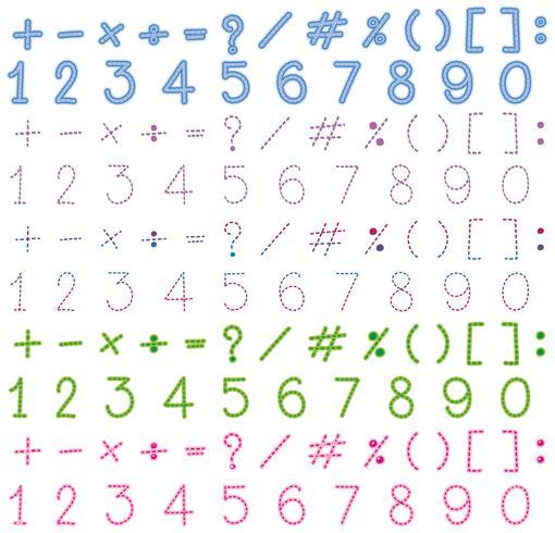 Nombres et signes de nombreuses couleurs