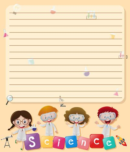 Line paper template with kids in science lab costume