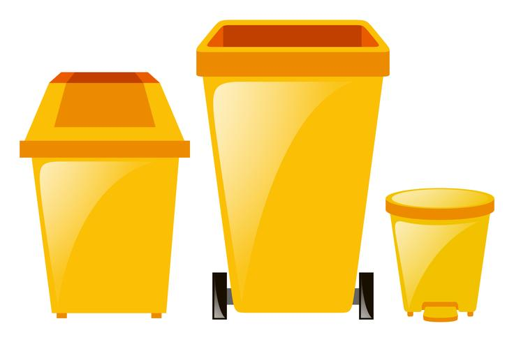 Three different sizes of trashcan