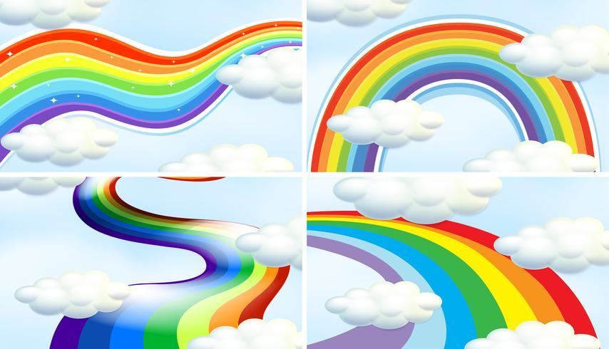 Quattro scene di sfondo con diversi modelli di arcobaleno vettore