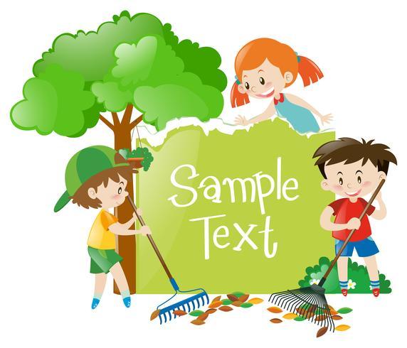 Design de papel com crianças no jardim