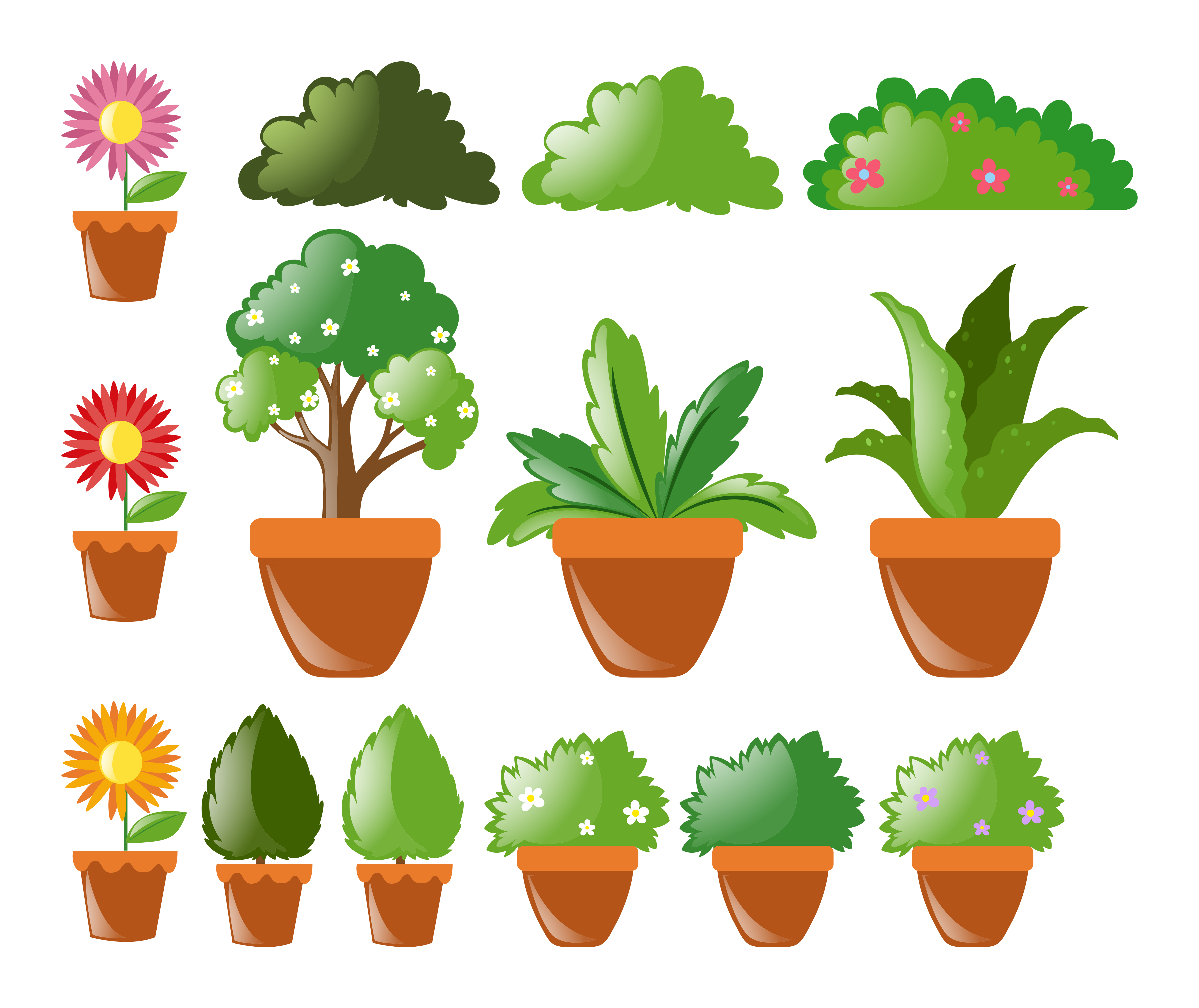 Different kinds of plants in pot - Download Free Vectors ...