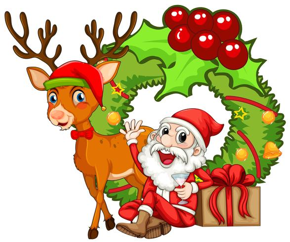 Christmas theme with Santa and reindeer - Download Free ...