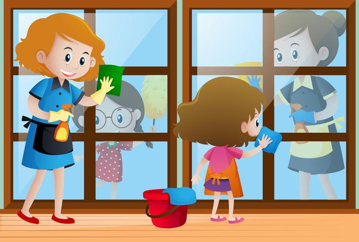 Crianças ajudando limpadores limpando as janelas