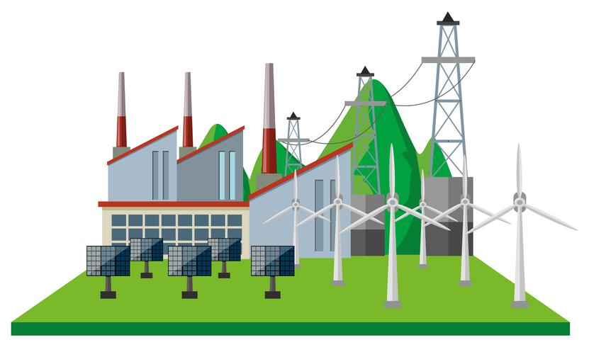 Power plants and wind turbines in the field vector