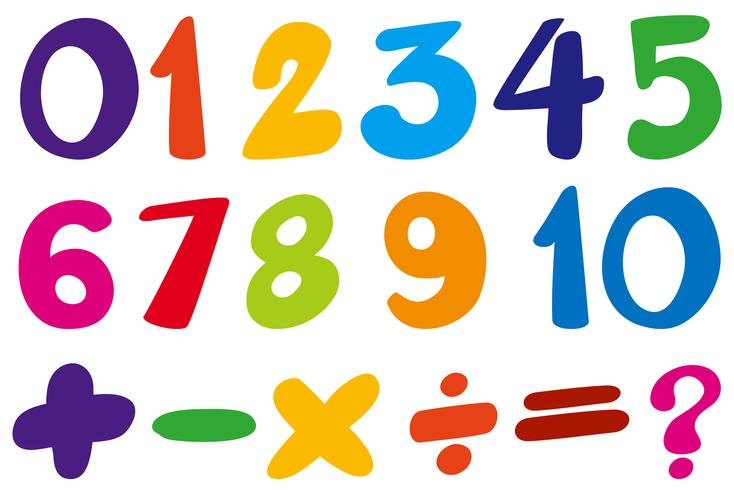 Font design for numbers and sign in colors vector