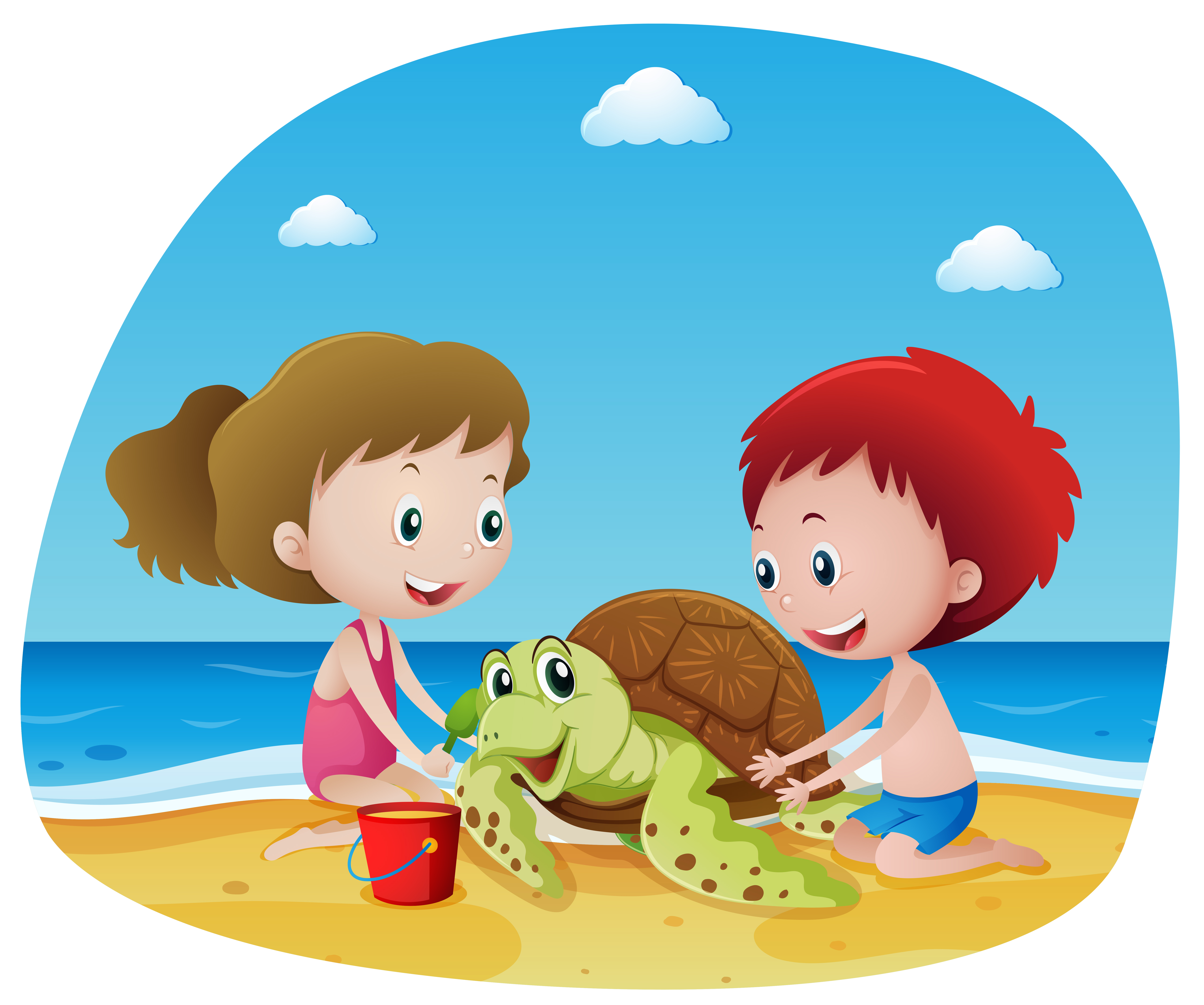 Children and sea turtle on the beach - Download Free ...