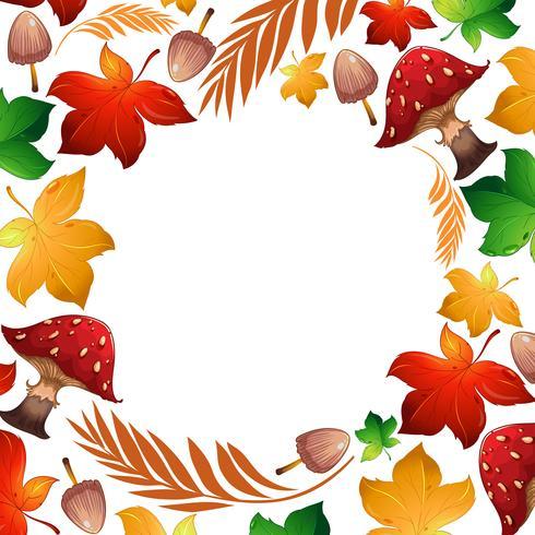 Autumn leaf and mushroom Template