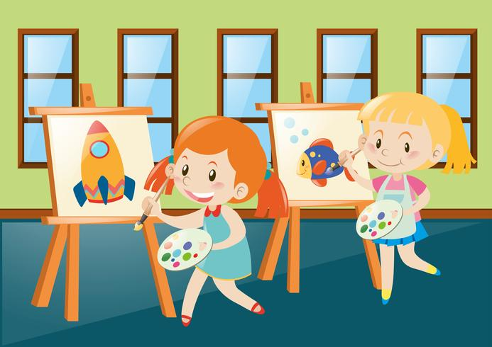 Two girls painting on canvas in classroom