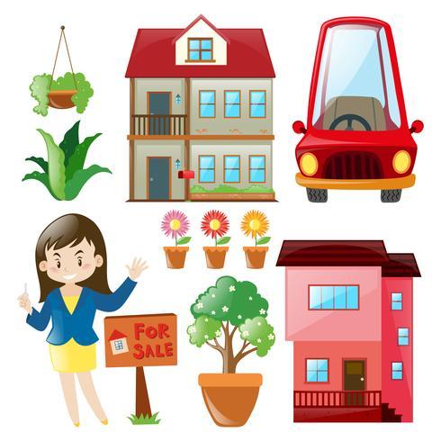 Agente inmobiliario y edificios.