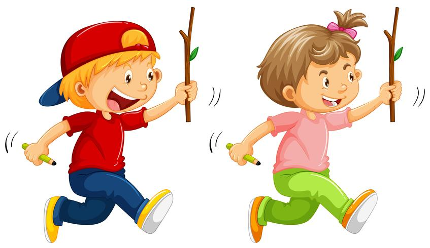 Boy and girl with wooden stick
