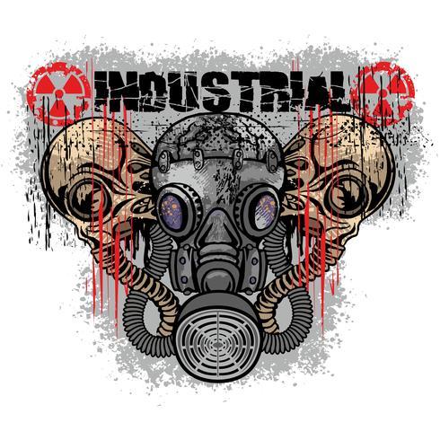 emblème industriel avec crâne vecteur