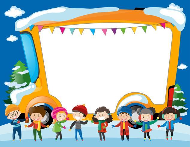 Gränsmall med barn och skolbuss