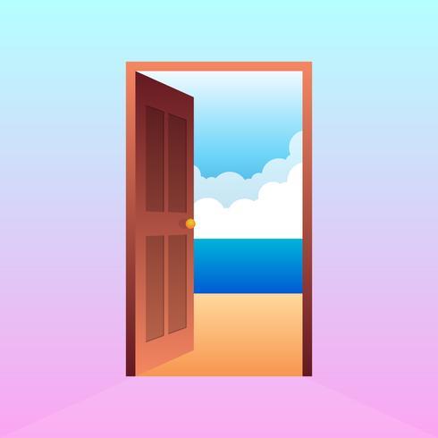 Ilustração do vetor dos desenhos animados da paisagem da praia da porta aberta