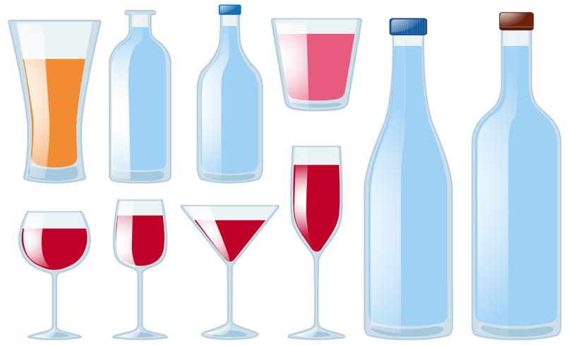 Different types of glasses and bottles