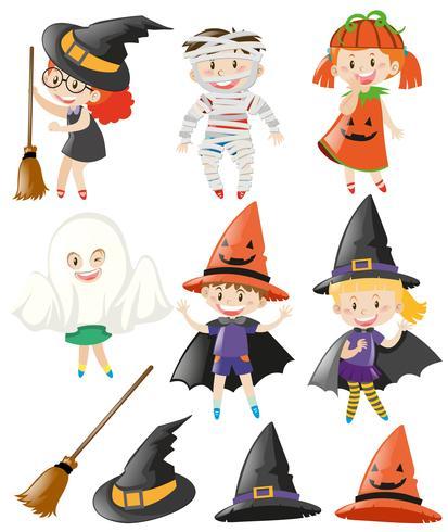 Halloween sertie d'enfants en costumes