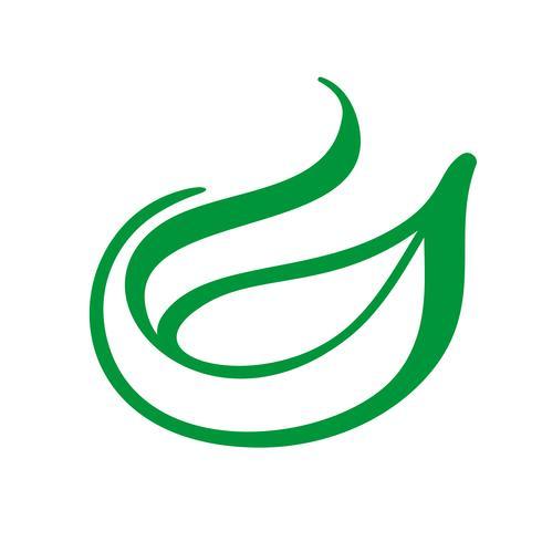 Boomembleem van groen blad van thee. Ecologie aard element vector pictogram. Eco vegan bio kalligrafie hand getrokken illustratie