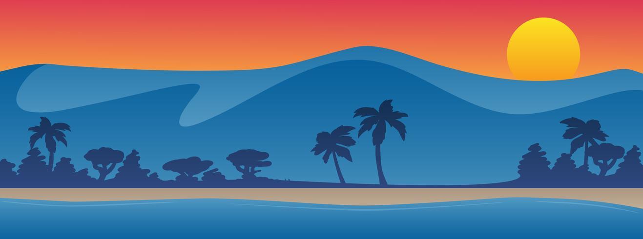 Montañas con ilustración de vector de fondo de playa litoral verano escena