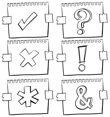 Different signs on scratch papers