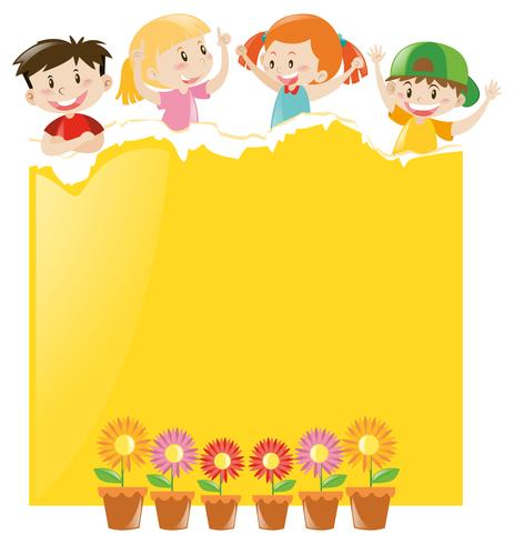 Papier design avec enfants et papier jaune